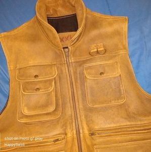 VTG Leather Safari Photography Vest Willis XL